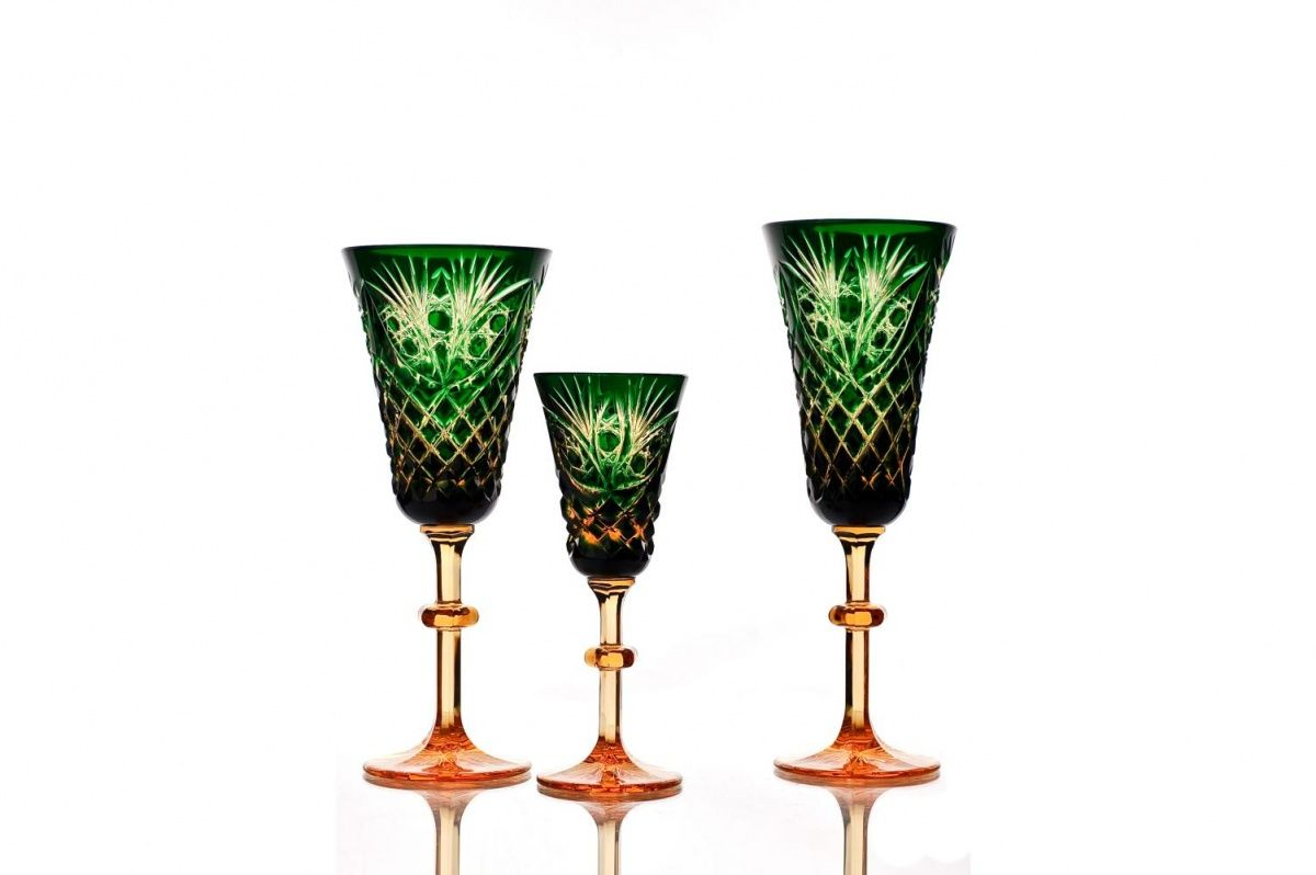 """Set of crystal glasses """"Pharaoh"""" amber-green 6 pieces"""