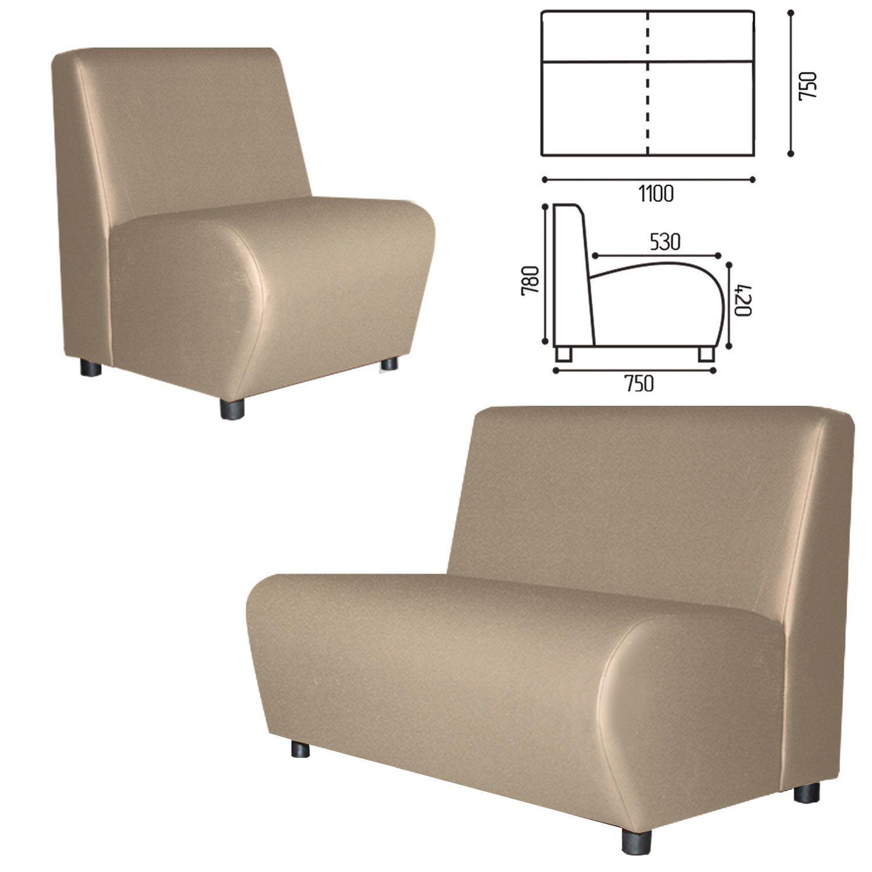 "GARTLEX / Sofa soft double ""Cloud"", ""V-600"", 1100x750x780 mm, without armrests, eco-leather, beige"