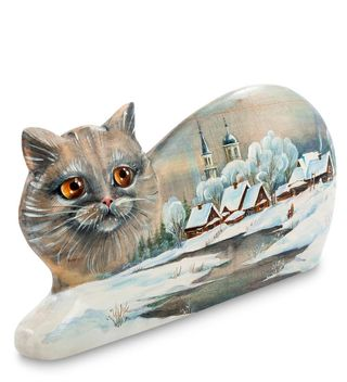 Figurine carved wooden Cat art painting