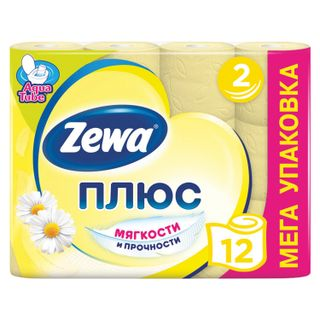 ZEWA / Toilet paper Plus, 2-layer (12x23 m), chamomile aroma, spike 12 pcs.