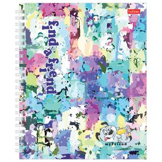 Notebook A5, 96 sheets, HATBER, comb, cage, hard cover,