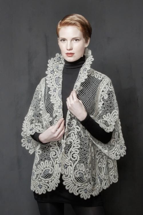 Lace jacket with a boxy silhouette