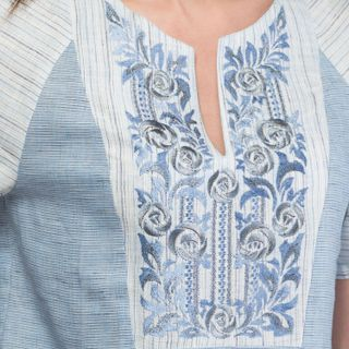 "Dress women ""Grisaille"" blue with silk embroidery"