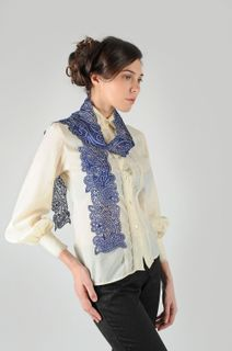 "Lace scarf ""Sky over Paris"" blue, Madame Cruje"