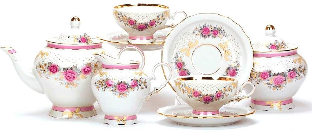 Dulevo porcelain / Tea set 15 pcs. Agate Tea Rose