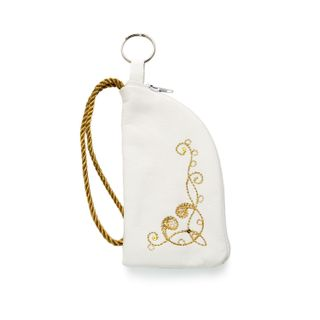"""Leather key holder """"Bindweed,"""" white with gold embroidery"""