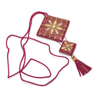 """Pendant """"Fan"""" of red color with Golden embroidery"""