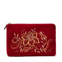 Velvet purse 'Tenderness' red color with Golden embroidery