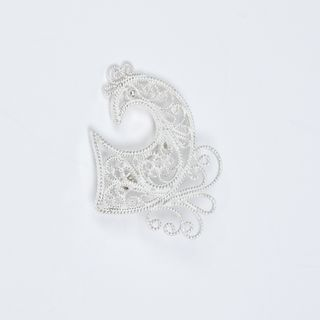 "Kazakov Filigree / Brooch ""Bird No. 2"" silvering"