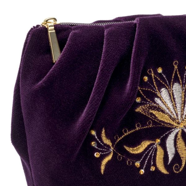 Velvet cosmetic bag 'Aida' purple with gold embroidery
