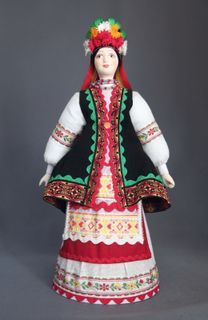 Doll gift porcelain. Kiev lips. Russia. Ukrainian maiden costume. The end of the 19th century.