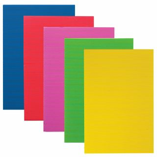 The color CORRUGATED cardboard A4, 5 sheets 5 colors, 250 g/m2, BRIGHT COLORS, TREASURE ISLAND