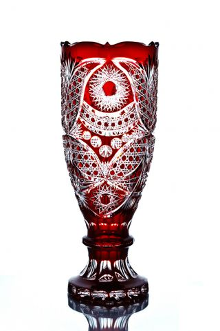 "Crystal decorative goblet vase ""Delight"" red"