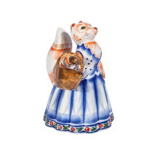 Sculpture Fox with a basket of colored paint with underglaze, cobalt, Gzhel Porcelain factory
