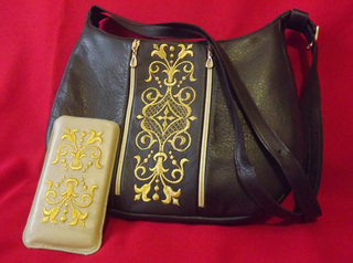 Set - Bag and mobile phone case made of genuine leather with gold embroidery