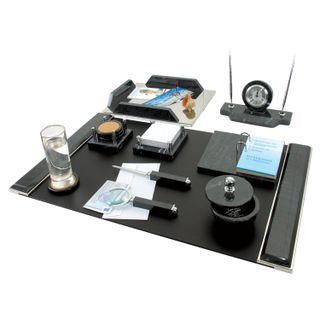 GALANT table set marble 9 items, black marble/silver metal parts