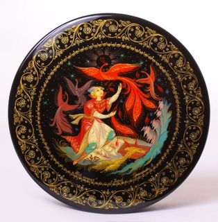 Kholuy art varnish miniature Firebird round