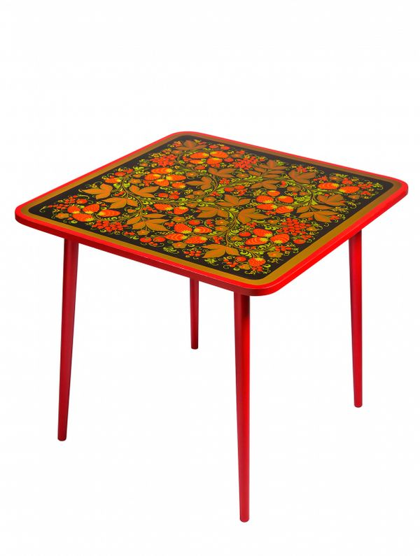 Table of wood 'Autumn' with Khokhloma painting, height 580 mm