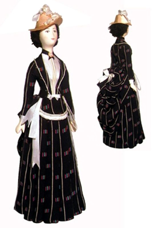 Doll gift. Summer walks (daily) costume of the late 19th century, Paris. France.