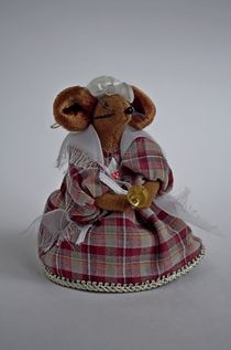 Bell mouse pendant. Textile doll