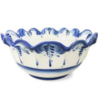 Bowl Dahlias 2nd grade, Gzhel Porcelain factory