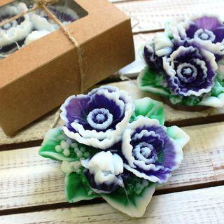 Handmade soap Bouquet of purple flowers