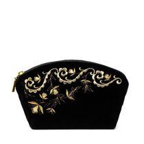 Velvet cosmetic bag 'Nefertiti' black with golden embroidery