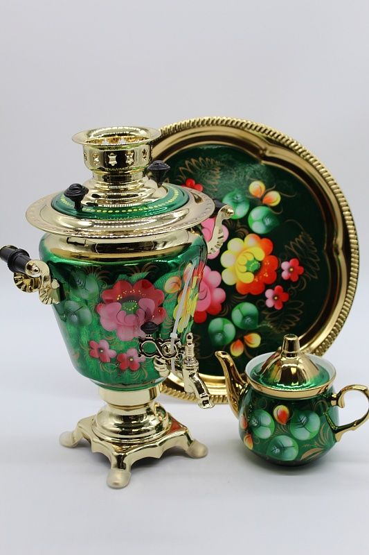 "Dulevo porcelain / Electric samovar 3 l. ""Zhostovo on green"" in the set"