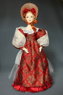 Doll gift porcelain. The young lady in a summer suit with a white scarf. 1830 St Petersburg.