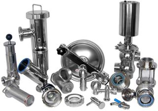 Stainless steel fittings for food industry