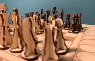 A wooden chess game