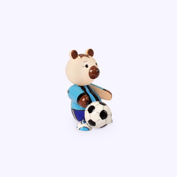 Bogorodskaya toy / Wooden souvenir 'Bear football player', lathe