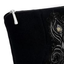 Velvet cosmetic bag Aida black with silver embroidery
