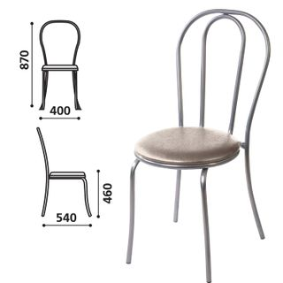 Dining chair, cafe, Vienna house, silver frame, leather-grey gloss