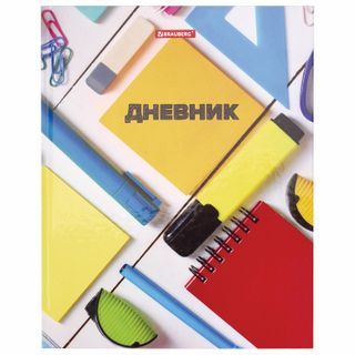 Diary 5-11 class 48 sheets, solid, BRAUBERG, glossy lamination, with a hint,
