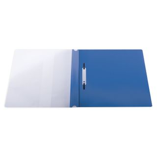 Folder plastic with perforations BRAUBERG, A4, 140/180 µm, blue