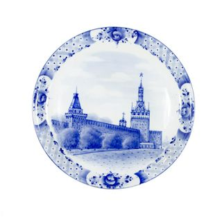 Plate Gift architecture, Gzhel Porcelain factory