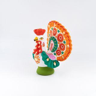 Clay figurine of a Turkey 12 x 14 x 6.5, Dymkovo toys
