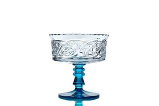 "Crystal vase for cookies ""Swede"" turquoise leg"