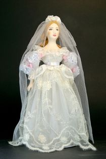 Doll gift porcelain. Girl in a wedding dress. Europe. 19th and early 20th century.