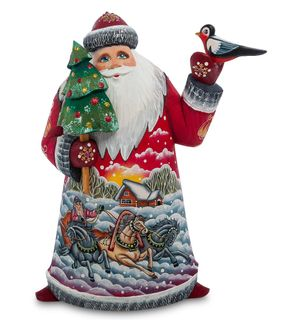 "Wooden figure ""Santa Claus with a bird"" 22 cm"