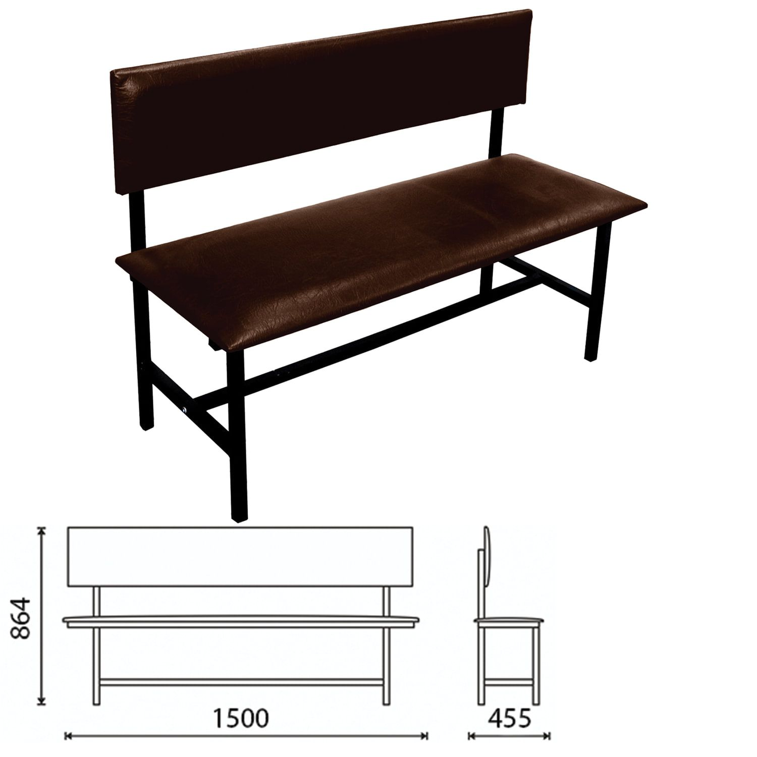 """COMFORUM / Bench with back """"Berta"""" 1500x455x864 mm, reinforced, black frame, brown leatherette"""
