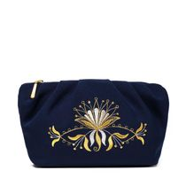 Cosmetic bag 'Aida' velvet blue with bright embroidery of a flower