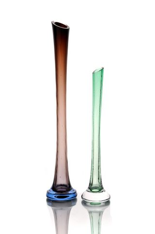 """Crystal vase for flowers """"Kai"""" small colorless green"""