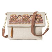Linen bag 'Greece' brown with gold embroidery