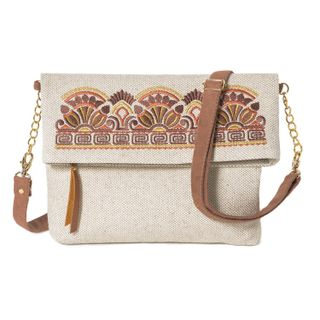 """Linen bag """"Greece"""" brown with gold embroidery"""