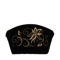 Velvet cosmetic bag 'Minuet' black with gold embroidery