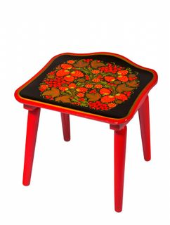 Khokhloma painting / Wooden stool with Khokhloma painting