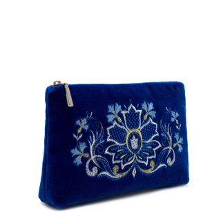 "Velvet cosmetic bag ""flavor of the cornflowers"" blue"