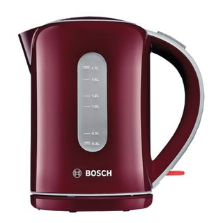 KETTLE BOSCH TWK7604, 1.7 litres, 2200w, closed heating element, plastic, red